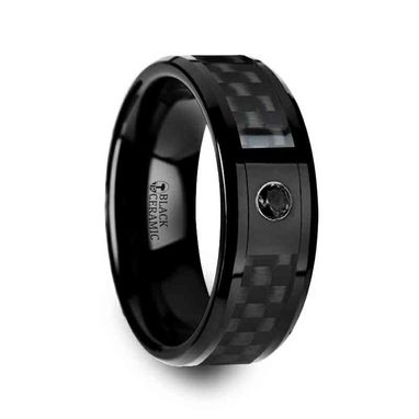 Custom Made Aberdeen Black Ceramic Ring With Black Diamond Wedding Band And Black Carbon Fiber Inlay - 8mm