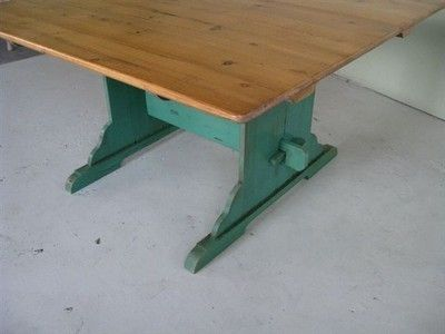 Custom Made Original Trestle Table With Painted Base & 2 Extensions