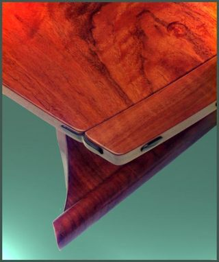 Custom Made Scroll Leg Tea Table In Claro Walnut And Ebony