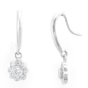 Custom Made Diamond Flower Dangling Earrings, 14k White Dangling Earrings, Ladies Earrings