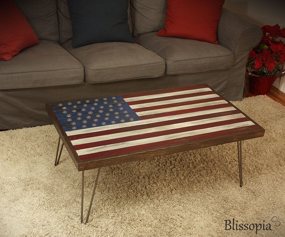buy a custom american flag coffee table made to order from blissopia. Black Bedroom Furniture Sets. Home Design Ideas