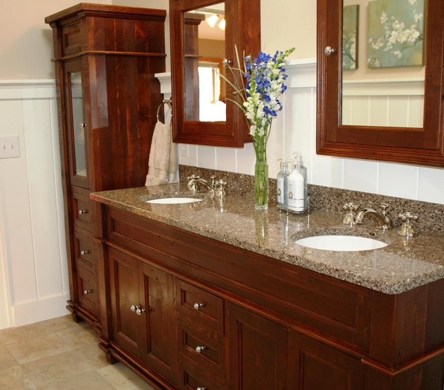 Hand Crafted Antique Reclaimed Wood Vanity By Vienna