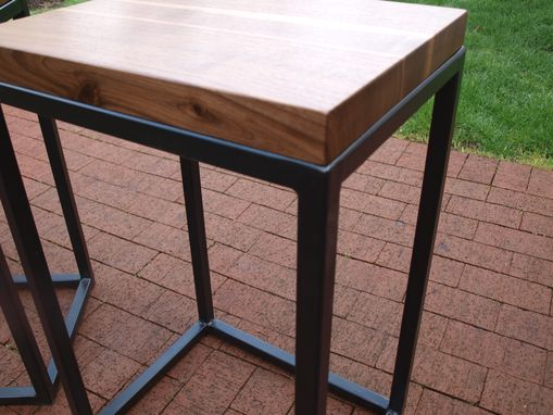 Custom Made Walnut & Steel End Tables