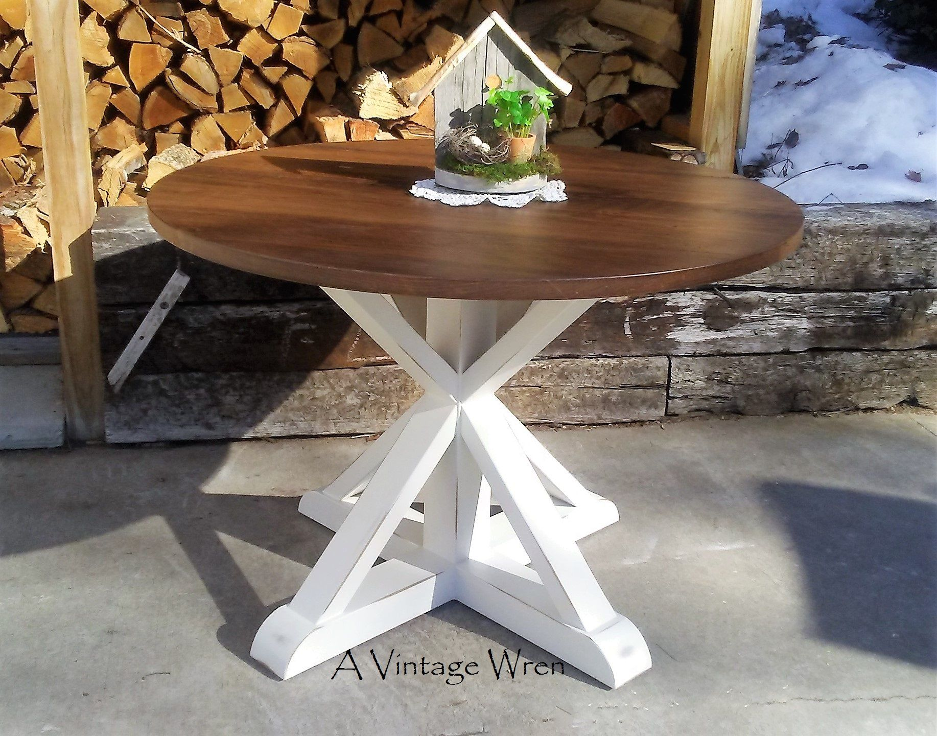 Hand Made Pedestal Table Modern Rustic Farm Table By A