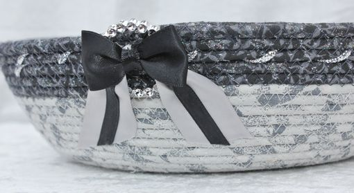 Custom Made Fabric Wrapped Clothesline - Small Round Bowl. Black, Gray, Silver, Glitter/Shimmer Accent