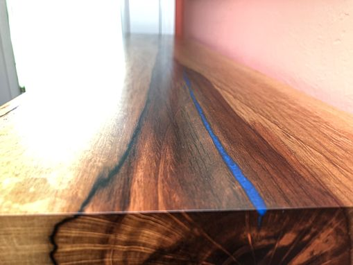 Custom Made Live Edge Cobalt Blue Epoxy Resin Console Table