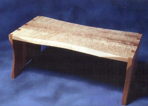Custom Made Sculpted Curly Maple Coffee Table