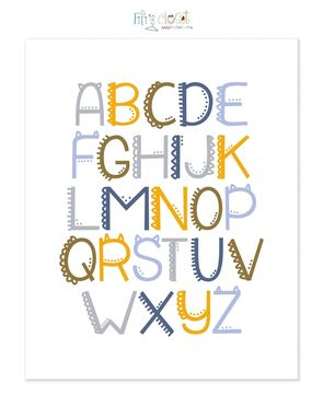 "Custom Made Monster Alphabet Print - 8"" X 10"""