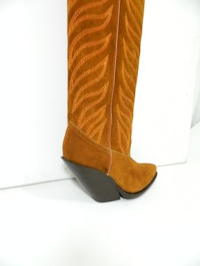Custom Made Saddle Tan Suede Leather Cowboy Boots 22 Inches Tall Men And Woman Sizes