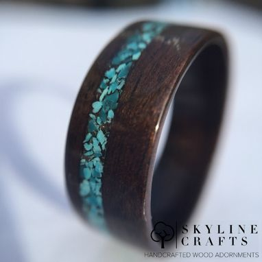 Custom Made Ebony Bentwood Ring With Turquoise Inlay. Handcrafted Wood Ring.