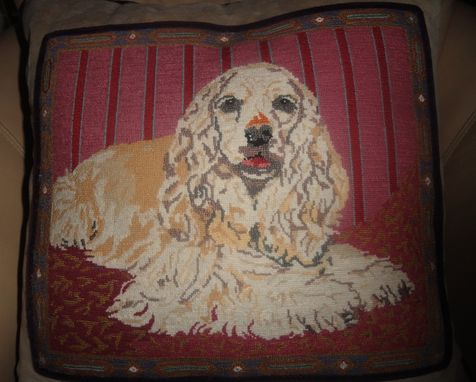 Custom Made Cocker Spaniel Needlepoint Pillow