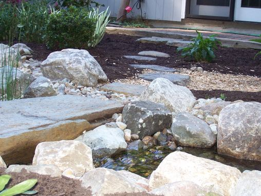 Custom Made Backyard Stream And Stone Bridge