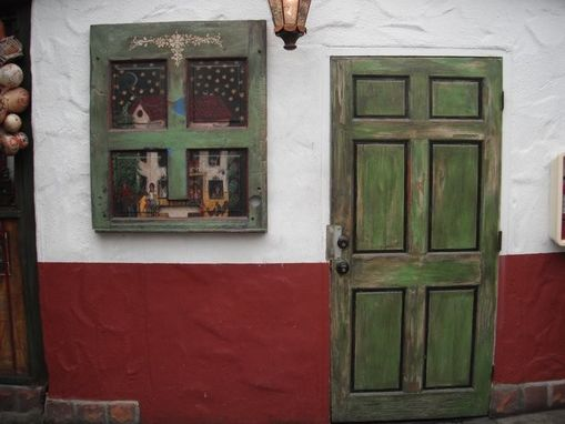 Custom Made Folk Art  Door And  Mexican Style Painting