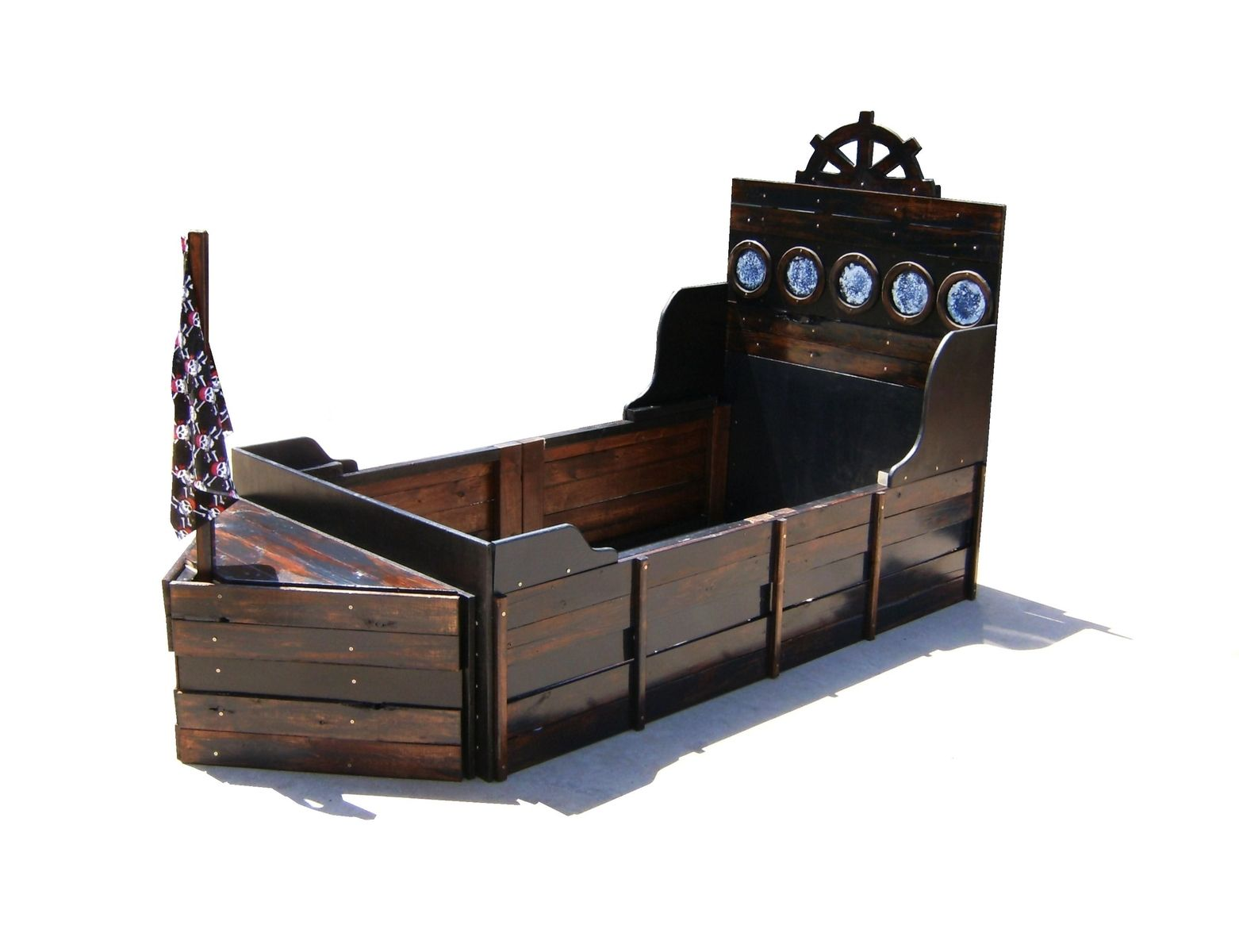 Handmade pirate ship twin bed by sonoran sandman - Lit queen size dimension ...