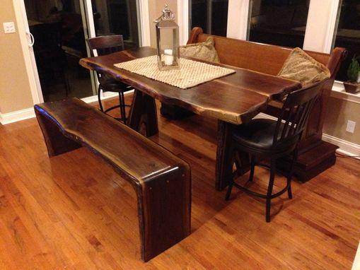 Custom Made Waterfall Edge Walnut Dining Bench Seats 3-4