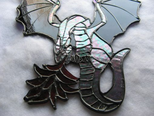 Custom Made Deep Purple Stained Glass Fire-Breathing Dragon
