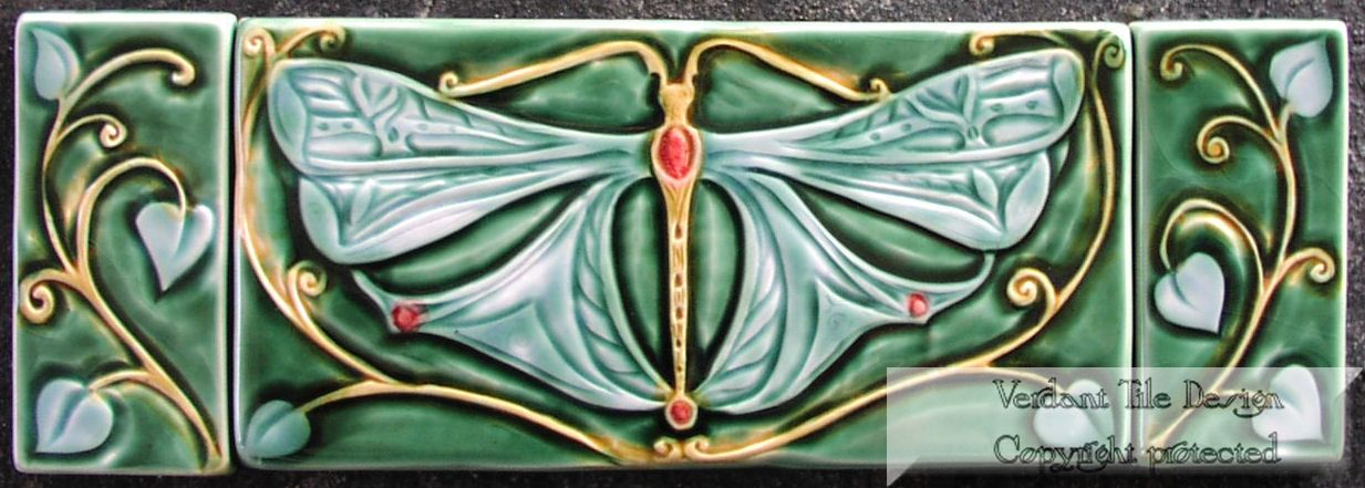 Custom Dragonfly Triptych Tiles by Verdant Tile | CustomMade.com