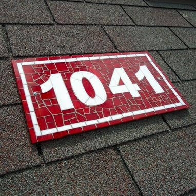 Custom Made Red And White Custom Mosaic Stained Glass Tile House Number Plaque For Outdoor Use