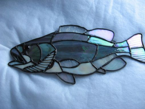 Custom Made Steelhead Striper Large Mouth Bass Stained Glass Art