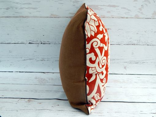 Custom Made Orange Blossom Leather And Linen Pillow