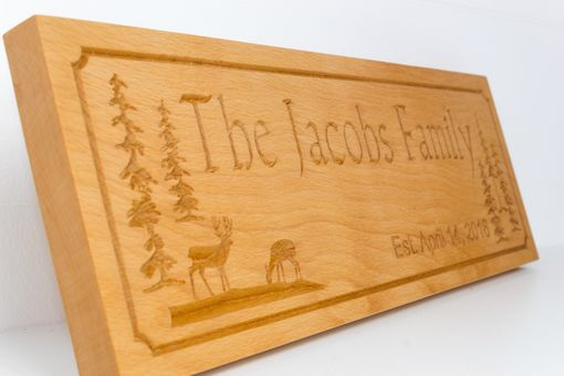 Custom Made Beech Wood Family Name Established Sign W/ Trees And Deer