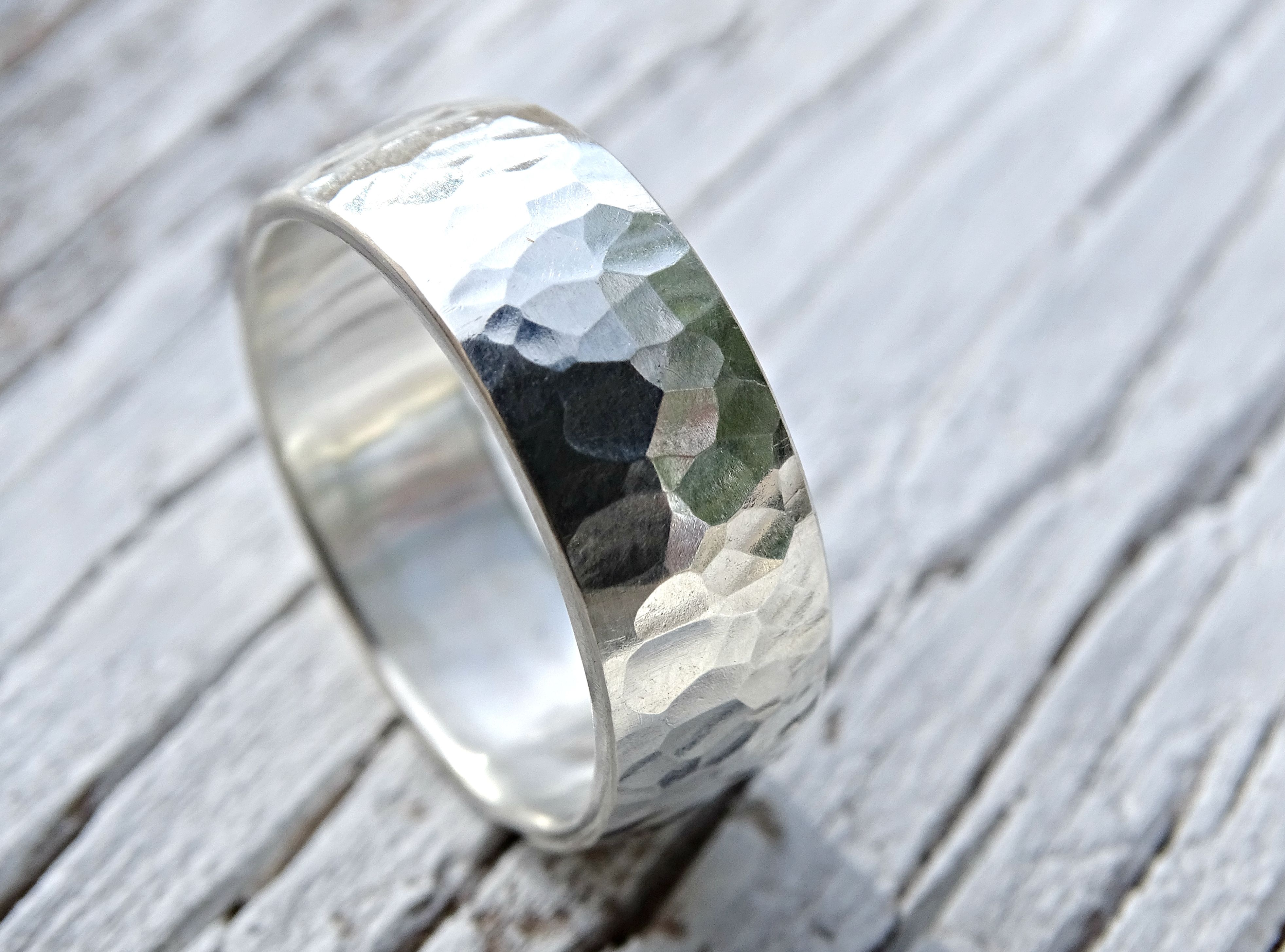 Custom Made Bold Mens Ring Hammered Surface And Domed Shape Silver Wedding Band