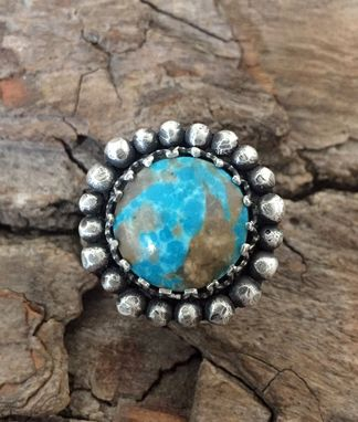Custom Made Pebble Compass Turquoise Ring Size 6