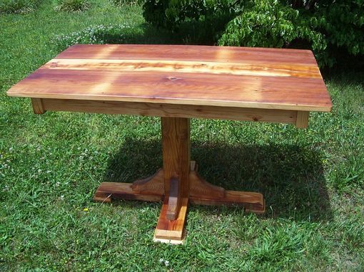 Custom Made Reclaimed Heart Pine Pedestal Table