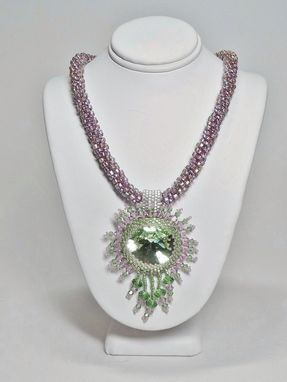 Custom Made Lavender And Ernite Green Kumihimo Necklace W/27mm Rivoli Pendant