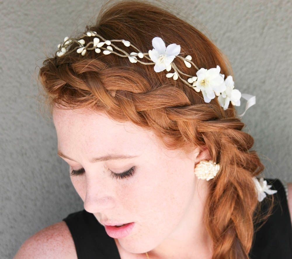 Hand Made Wedding Hair, Rustic Bridal Wreath With Flowers And Ribbon ...