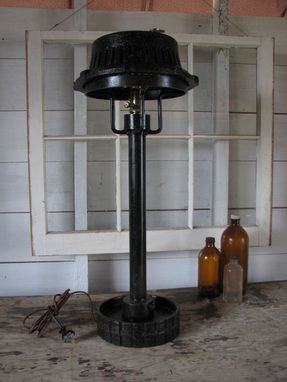 Custom Made Industrial Repurposed Metal Table Lamp Black