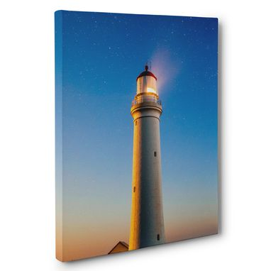 Custom Made Lighthouse Stars Sky Photography Canvas Wall Art