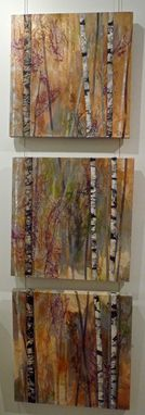 "Custom Made ""We Meet Again""  Aspen Trees-Mixed-Media Vertical Triptych"