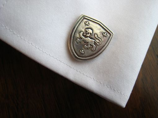 Custom Made Sterling Silver Cufflinks With Custom Heraldic Crest Coat Of Arms Motif