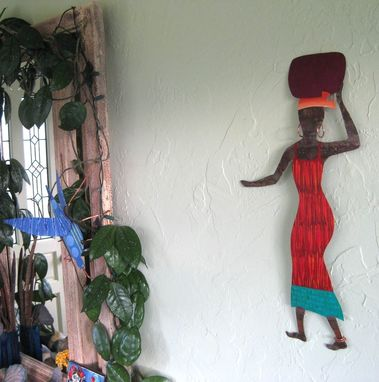 Custom Made Handmade Upcycled Metal African Lady In Red Wall Art Sculpture