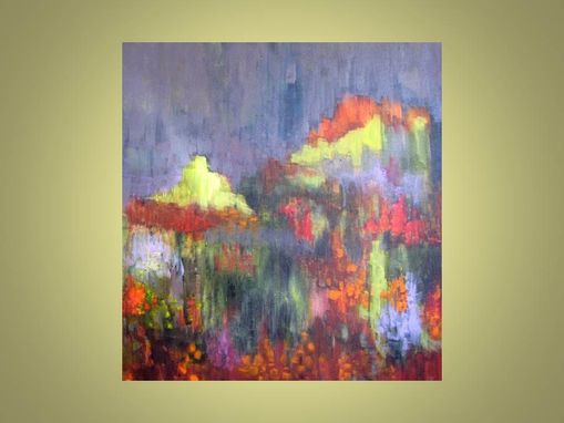 "Custom Made Original Abstract Garden Painting -18""X18"" Green Grey Red Orange Flowers Painting"