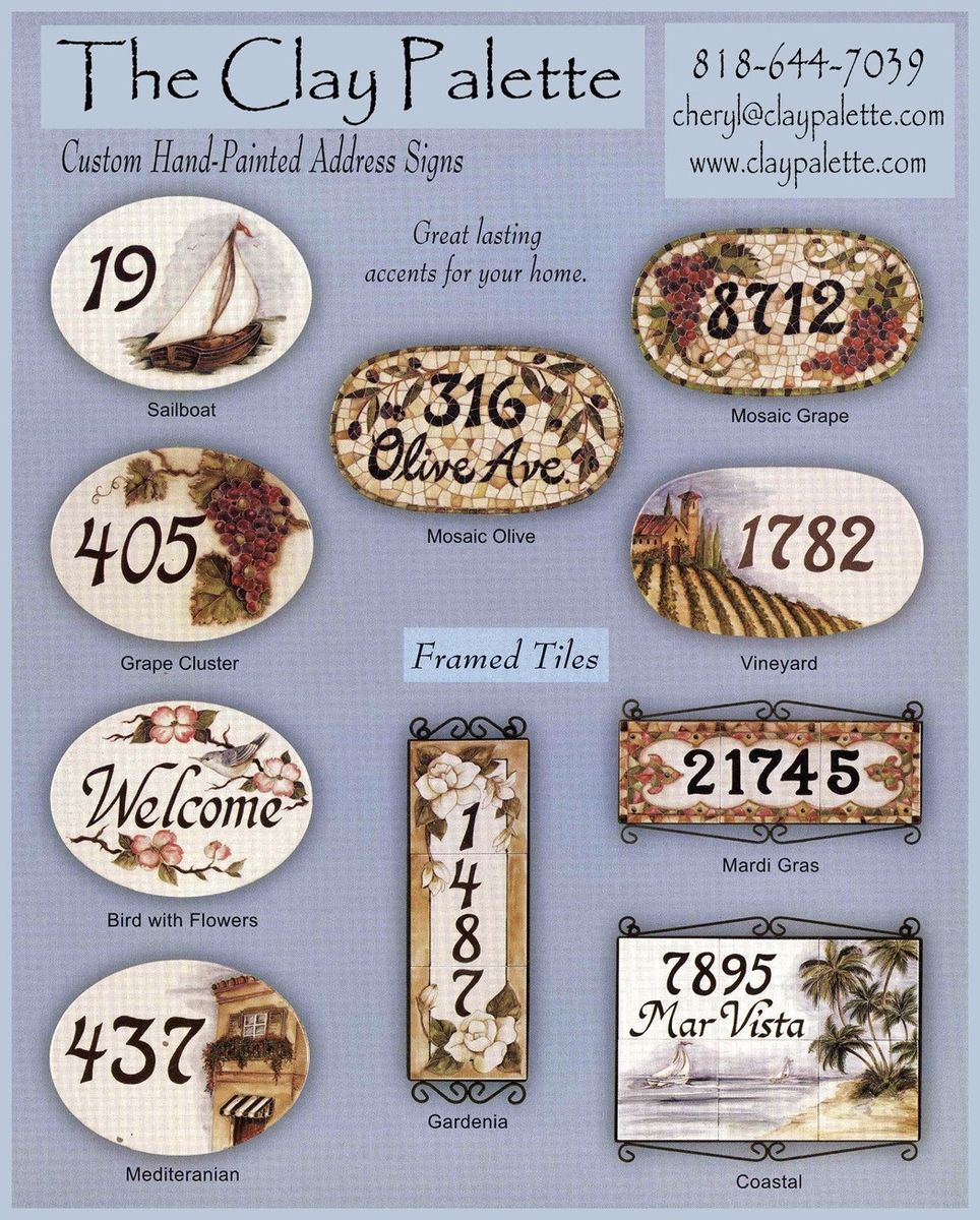 Custom made hand painted address tiles and plaques by the clay custom made hand painted address tiles and plaques dailygadgetfo Gallery