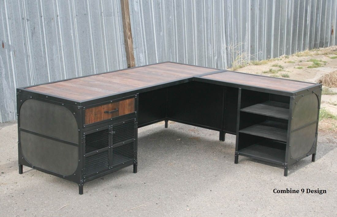 Custom Made Vintage Industrial Desk W Return Reclaimed Wood Steel Urban
