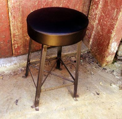Custom Made Vintage Style Clerk Stool With Upholstered Cushioned Seat