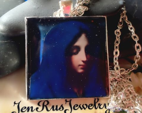 Custom Made The Blue Madonna By Dolci-3d Resin Pendant