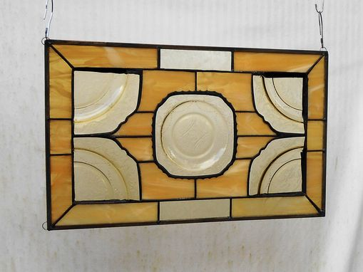 Custom Made Stained Glass Plate Panel 1930s Depression Glass Madrid Window Treatment