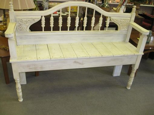Custom Made Antique White Headboard Bench