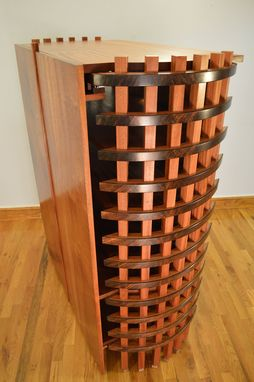 Custom Made Stereo Cabinet Featuring Bent African Ribbon Sapele