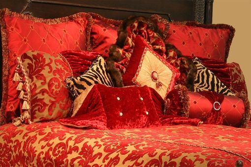 Custom Made Ravishing Red Bedding Set And Decorative Pillows
