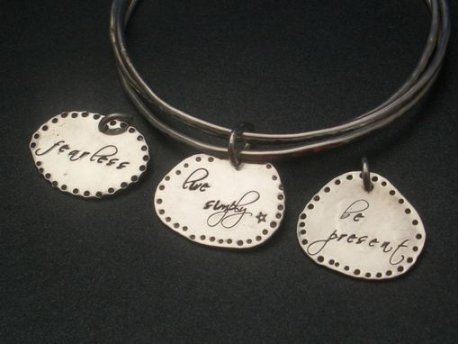 Custom Made Charm Bangles With Hand-Stamped Tags