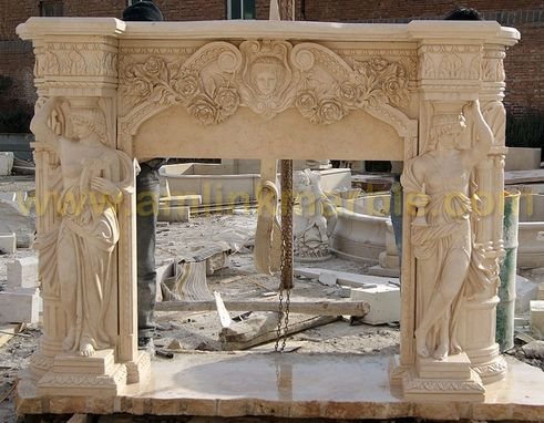 Custom Made Beige Travertine Fireplace Surround Featuring Lion Statue And Flower Carving