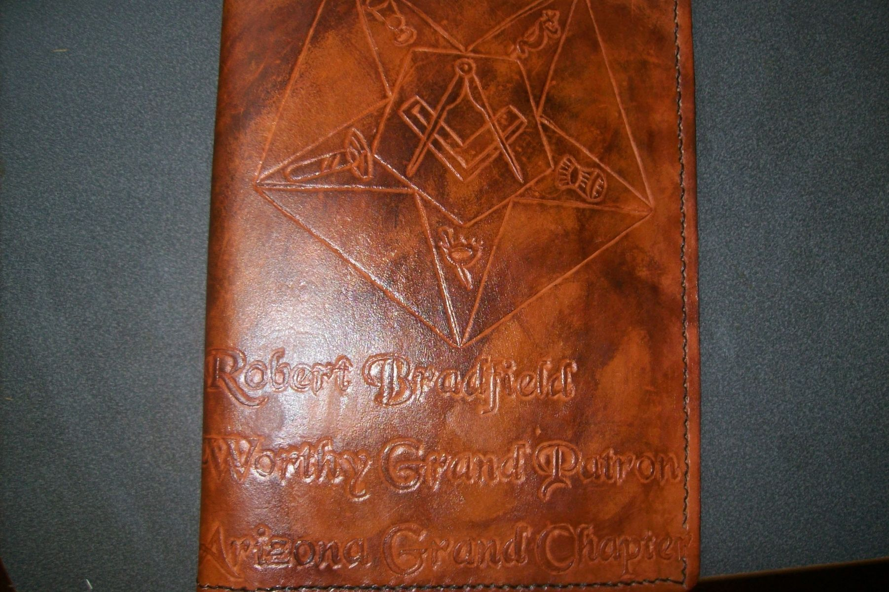 buy a handmade custom leather portfolio with masonic