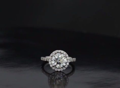 Custom Made Petite Flower Halo Split Shank Engagement Ring