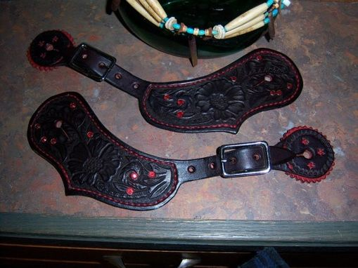 Custom Made Cowgirl Traditional Western Spur Leathers With Bling-(Spurs Not Included)