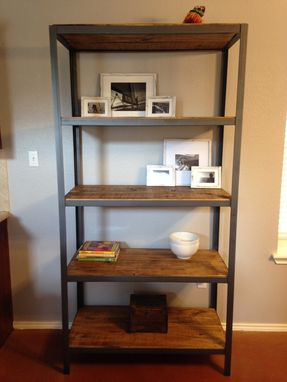 Custom Made Wood Shelf With Metal Frame